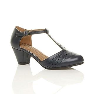 Ajvani Damen Mitte Blockabsatz T-Riemen Ausgeschnitten Brogues Pumps Sandalen Größe 7 40