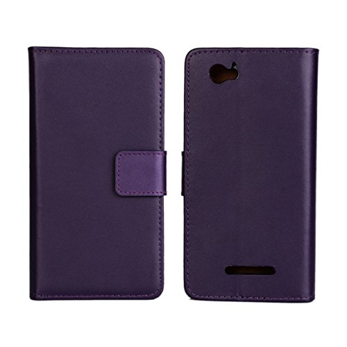 UKDANDANWEI Sony Xperia M Hülle - Book-Style Wallet Case Flip Cover Etui Tasche Case mit Standfunktion Für Sony Xperia M C1904 C1905 Lila