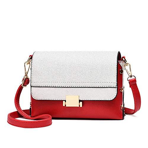 RJW Damentaschen Polyester Umhängetasche Glitter/Zipper Color Block Red Elegant (Farbe : Red) (Kipling Karriere)