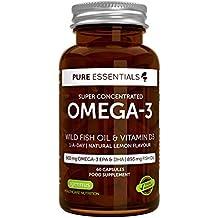 Aceite de Pescado Salvaje Omega-3 Super-Concentrado Pure Essentials y Vitamina D3 | Omega-3 EPA y DHA de 600 mg | Aceite de Pescado de 893 mg | 1 al día | Sabor a limón | 60 cápsulas