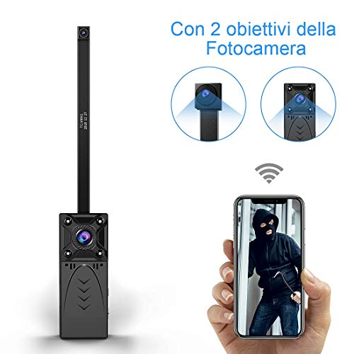 KEAN Telecamera Spia Nascosta Wi-Fi Interno 1080P Mini Microcamera IP Wireless Rilevamento di Movimento Portatile Videocamera di Sorveglianza Video Registrazione in Loop - 2 Lenti Spy Cam
