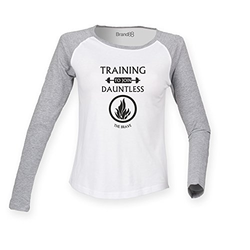 Brand88 - Training To Join Dauntless, Damen Langarm Baseball T-Shirt Weiss & Grau