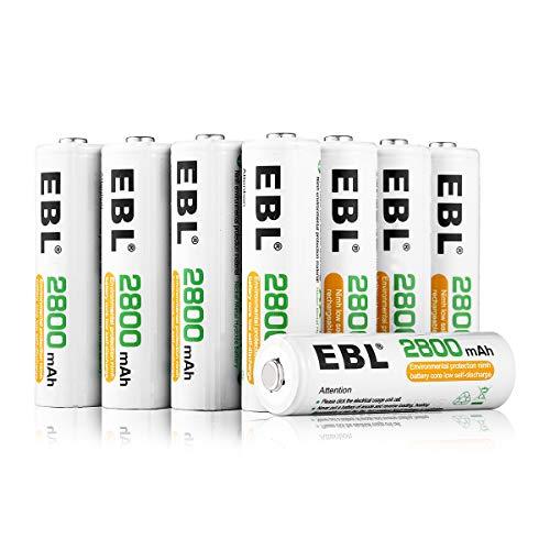EBL NI-MH AA Akku 2800mAh Mignon wiederaufladbare Batterien mit hoher Kapazität 8 Stück, Keine Memory-Effekt mit Aufbewahrungsbox
