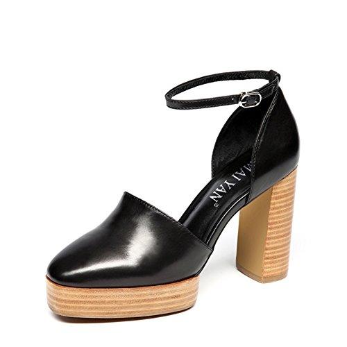 Sapatos Alto Um Salto Mola Com Planas Boca Moda B Da Sapatas Salto De Áspera Fw8XF