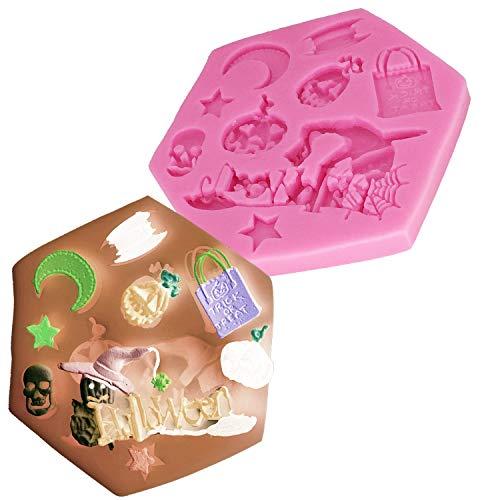 HBBQRS 1 Stücke Halloween mond Kürbis Hexe schädel Silikon Fondant 3D Kuchenform Cupcake Candy Schokolade Dekoration Backenwerkzeuge D0305 (Halloween Cupcakes Selbstgemacht)