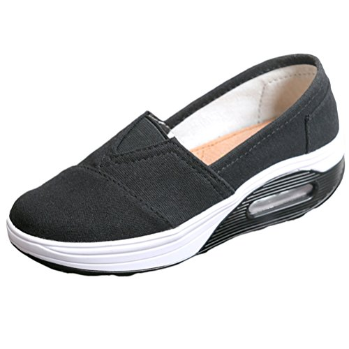 Mallimoda Donna Scarpe da Ginnastica Slip-on Tela in Alte Zeppa Outdoor Sneakers Nero EU 38.5-39=Asian 40