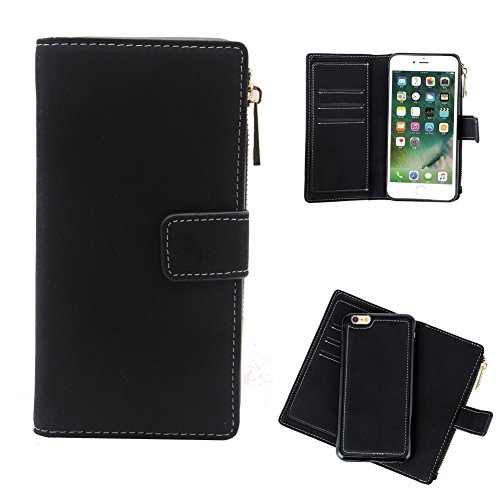 iPhone 7 Plus und 8 Plus 14 cm Fall, Geldbörse 6 Kartenfächer Aufbewahrung Halter abnehmbaren Magnet Folio Slim Full protetive Flip Cover für iPhone Handy 7 8 Plus schwarz schwarz (Reise-geldbörse Fall)
