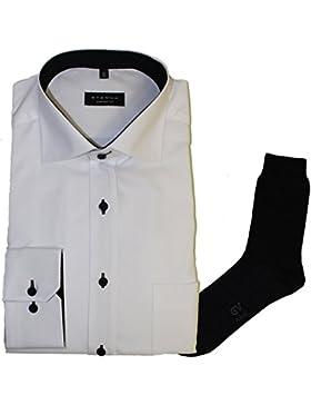 ETERNA Herrenhemd Comfort Fit, weiß, FEIN OXFORD + 1 Paar hochwertige Socken, Bundle
