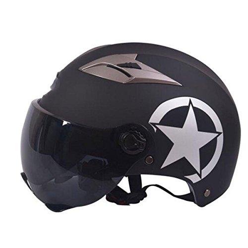 TZQ Double Lens Half-covered Damen Half Helm Männer Mode Wrestling Hut Motorrad Batterie Auto Helm,C-OneSize