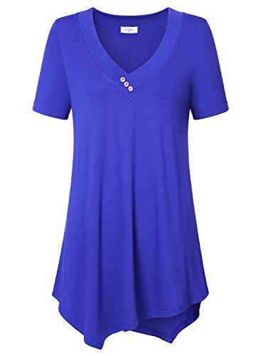 Ca Kra Damen Kurzarm Asymmetrisch Hem Baumwolle Bluse Tunika Tops T-Shirt (Blau XL)