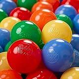 KiddyMoon 200  6Cm Bolas Colores De Plástico Para Piscina Certificadas Para Niños, Amarillo/Verde/Azul/Rojo/Naranja