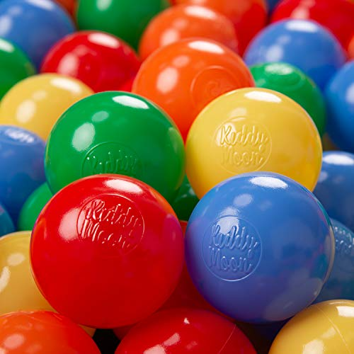 KiddyMoon 1200/6Cm ∅ Balles Colorées Plastique pour Piscine Enfant Bébé Fabriqué en EU, Jaune/Vert/Bleu/Rouge/Orange