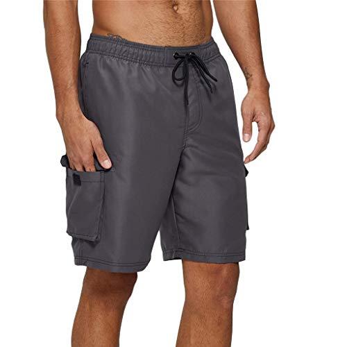 Arcweg Badehose für Herren Lang Mehr Taschen Badeshorts Männer Wasserabweisend Boardshorts Schnelltrocknend Jungen Beachshorts Bermudas mit Tunnelzug Grau 2XL(EU)-MarkeGröße 3XL