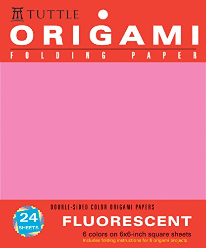 Origami Folding Paper, Fluorescent: 6 Colors on 15,2x15,2 cm (6x6 Zoll) Square Sheets, Doubled-sided - Fluorescent Origami