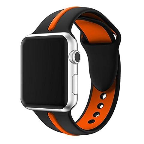 iHee Bracelet sport très confortable en silicone pour Apple Watch Series 1/242mm M Orange