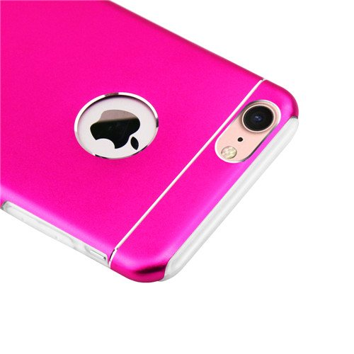 betterfon | Hardcase Schutzhülle Aluminium Backcover und TPU Silikon Rahmen Bumper Case Cover Hülle für Apple iPhone 7 Silber Pink