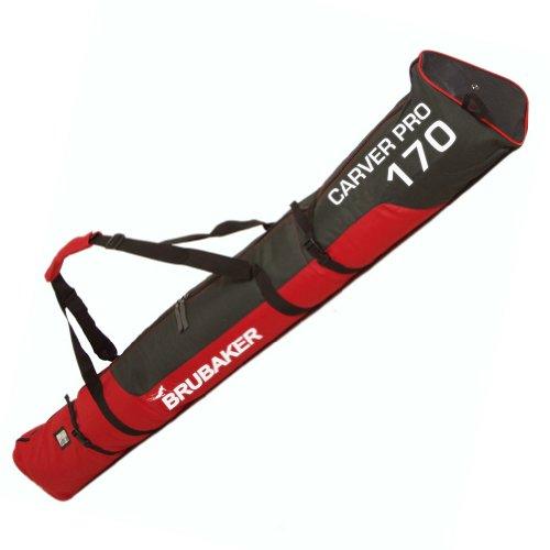 BRUBAKER Skisack Skibag - 170 cm - Gepolsterte Skitasche mit Zipperverschluss Rot / Schwarz (Ski Alpin Extreme)