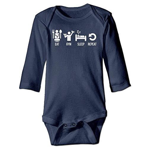 VTXWL Unisex Infant Bodysuits Eat Gym Sleep Repeat Boys Babysuit Long Sleeve Jumpsuit Sunsuit Outfit Navy