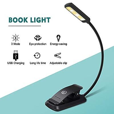 Leselampe Buch, Techole LED Buchlampe mit 6 LEDs, 3 Helligkeitseinstellungen, 360° Flexibel und USB Wiederaufladbare LED Leselampe Klemme, Tischlampe, Leselampe Kinder für Kindle, Buch, Computer, Bett, Musikstände usw. von Techole