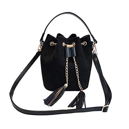 Women's Wild Umhängetasche, Eimer Tasche Leder Messenger Bag, Samt Machen-Reisen, Party oder Alltag,Black,S -