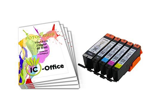 Canon pgi570 cli571 pgi-570 cli-571 - set di cartucce per stampante pixma con carta fotografica ic-office da 210 g/mq, 10 x 15 cm, colore bianco lucido 200 blatt set da 5