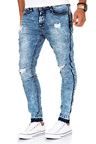 Sublevel Jeans Herren Hose Skinny Fit Slim Fit Blue Denim Chino Röhrenjeans (Blau, W32/L32)