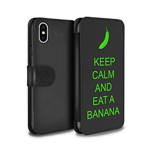Stuff4 Coque/Etui/Housse Cuir PU Case/Cover pour Apple iPhone X/10 / Pack 25pcs Design / Reste Calme Collection Manger une Banane/Vert