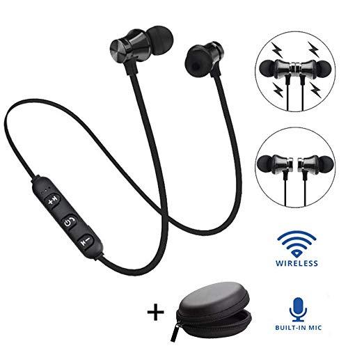 YiGaTech Bluetooth Kopfhörer In Ear Sport V4.2, IPX5 Schweißresistent Stereo magnetischer Sport Ohrhörer mit 10 Meter Reichweite, eingebautes Mikrofon für iPhone, Huawei und Samsung (Schwarz) -