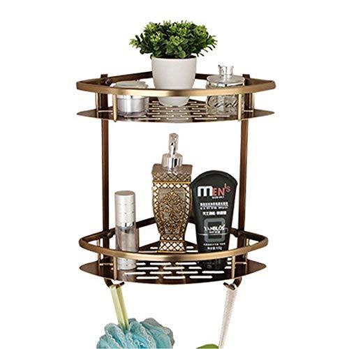 Y-only Wandmontage-Triangle Shower Organizer 2-Eck-Eckregal für Badezimmer mit Haken, Shower Caddy, Premium-Messing, rostfrei, 23 × 23 × 36 cm (Chrom Dusche Caddy Rostfrei)