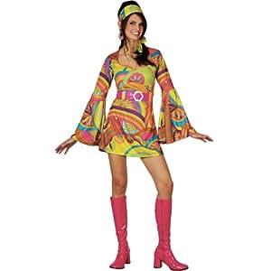 Retro Go Go Girl (Colourful) - Adult Costume Lady : SMALL