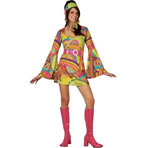 Retro Go Go Girl 60s And 70s Fancy Dress Adult Hippie Disco Costume (60s 70s Fancy Dress Kostüme)
