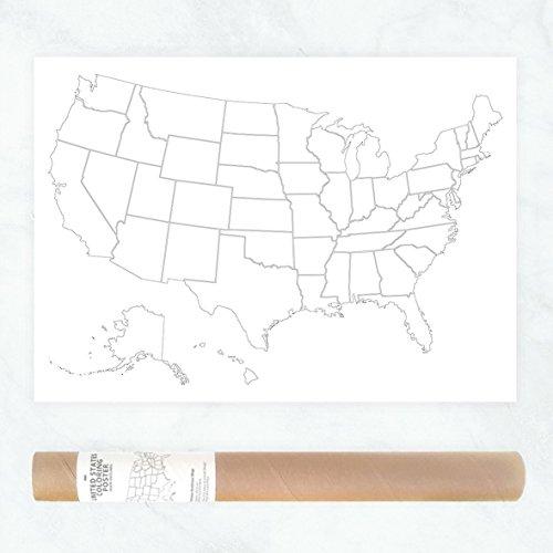 Großes Plakat mit Politischer Karte von den USA zum Ausmalen von besuchten Staaten