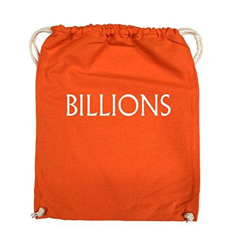 Comedy Bags - BILLIONS - LOGO - Turnbeutel - 37x46cm - Farbe: Schwarz / Pink Orange / Weiss