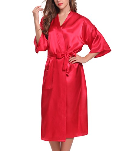 ADORNEVE Femme Robe de Nuit Kimono Satinée Longue Nuisette Sexy 2 Pcs Rouge Foncé