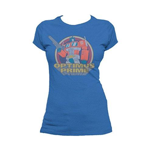 Transformers Prime Circle Vintage Official Women's T-Shirt (Royal Blue) (Large)