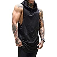 Mens Sleeveless Hoodies Gym Tank Tops Vest Workout Sports Tops Bodybuilding Muscle Summer T Shirt