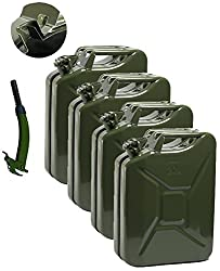 Opticare 4 x 20 Litre Green Metal Jerry Can With 1 x Spout (UN Approved, GS/TUV Certification)