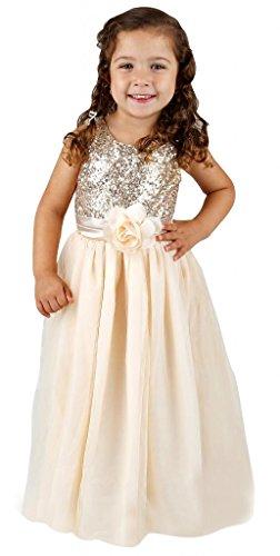 Bow Dream Kleid für Mädchen Sequinen Gold 2 Jahre