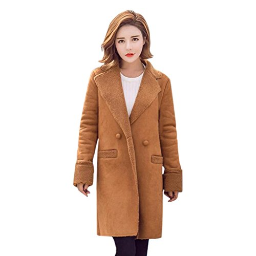 Klassische Lammfell-shorts (Sonnena Fashion Frauen Winter Warm Wildleder dicker Fell Jacke, Lammfell Mantel L braun)