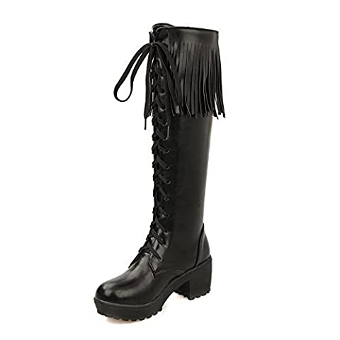 VogueZone009 Women's High-top Solid Lace-up Round Closed Toe Kitten-Heels Boots, Black, 42