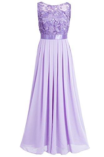 iEFiEL Damen Kleid Festliche Kleider Brautjungfer Hochzeit Cocktailkleid Chiffon Faltenrock Elegant Langes Abendkleid Lavender 42 (Herstellergröße:12)