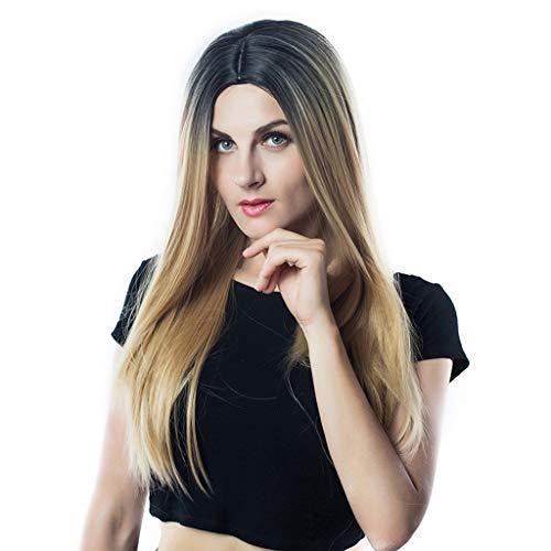 Perücke Frauen Premium Delux synthetische Mode lange Perücke glattes Haar Cosplay Party Perücke Spitze ist nicht vorne