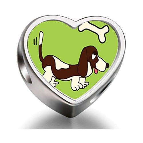 Rarelove Sterling Silver Basset Hound Dog Brown Heart Photo Charm Beads
