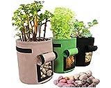 Sacs à Plantes,3 PCS Couleurs Assorties 7 Gallon Légumes Pomme De Terre Tomate Planter Cultiver Sac pour Patios Jardins Balcons Sun Room Cour 30x35cm
