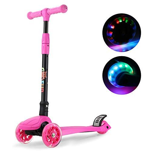 gosfun monopattino per bambini pieghevole monopattino 3 ruote,con la ruota del flash, fino a 60 kg (rosa)