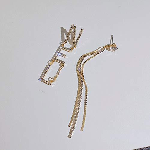 WWF Frau Asymmetrisch Ohrring,Langer Abschnitt Quaste Ohrringe,Nachtclub Übertreibung Dangler Web Sensation/golden/Einheitlicher Code