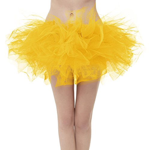 GirstunmBrand Damen 50er Mini Tüll Tutu Puffy Ballett Bubble Rock Gold-Plus Size
