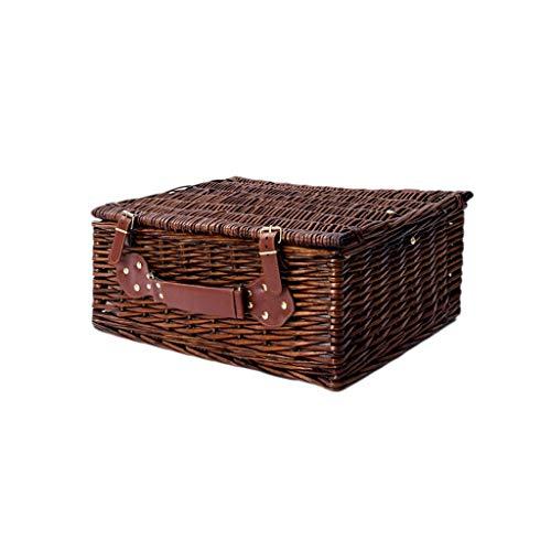 Wicker Outdoor-lagerung (Handgewebte Willow Wicker Picknickkörbe Rechteck mit Deckel Garten & Outdoor Camping Hamper Einkaufen Obst Lagerung Geschenkkörbe (Color : C))