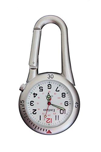 Entino Marke Silber Clip auf Karabiner weiß Gesicht FOB Uhr Ärzte Krankenschwestern Sanitäter Köche Damen-uhren Mit Dunklem Gesicht