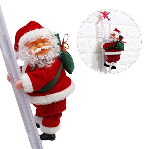 Outtybrave Elektrische Weihnachts-Puppe Santa Claus Kletterleiter Puppe Plüschpuppe Spielzeug Weihnachten Tür Wand Dekoration